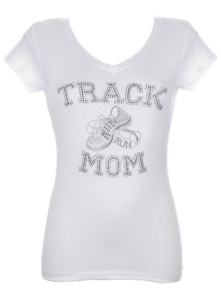 Track Mom White Rhinestone T-Shirt