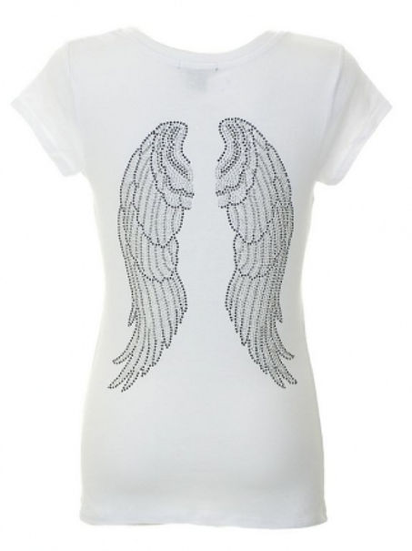 Wings Rhinestone T-Shirt White