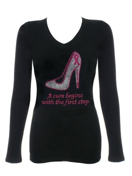 A Cure Begins with the First Step Breast Cancer Awareness Rhinestone Long Sleeve