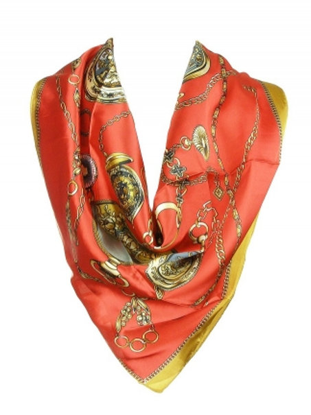 Square Silk Scarf with Pocket Watch Theme Print Red