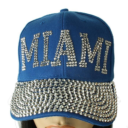 BLUE RHINESTONE MIAMI BLING CAP