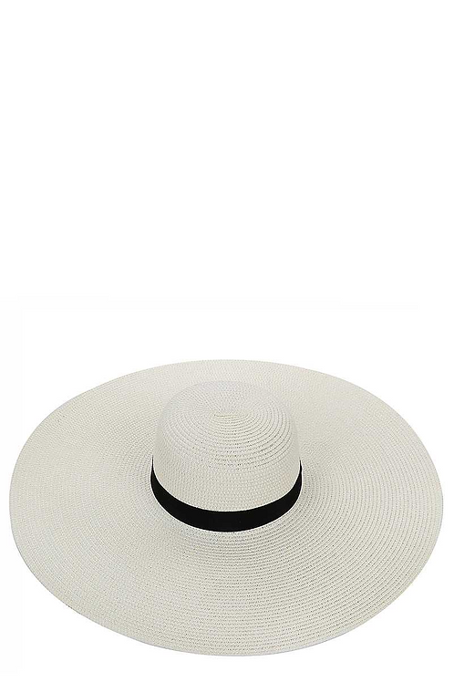 EXTRA LARGE BRIM PAPER WOVEN SUN HAT