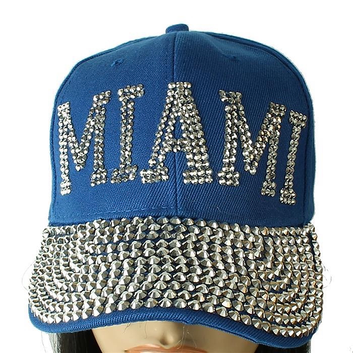 Blue Miami Rhinestone Hat