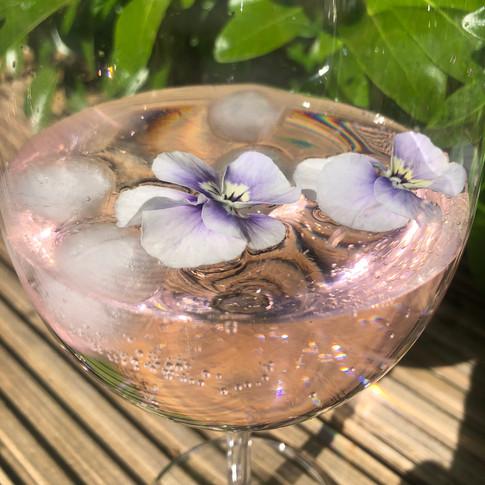 Pink gin and lemonade