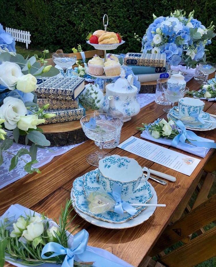 Pretty blue afternoon tea set up