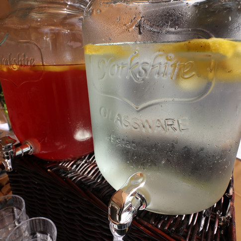 Elderflower Cordial and Refreshing Lemon Water, some of our cold beverages