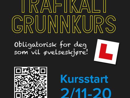 Trafikalt grunnkurs - oppstart 2. november! Obligatorisk for deg som vil øvelseskjøre!