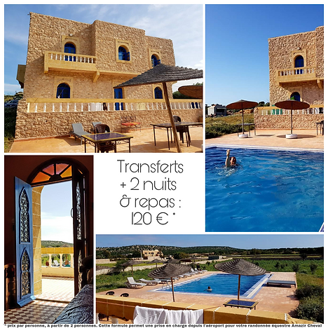 Auberge Dar Aalida Essaouira Sidi Kaouki en partenariat Amazr Cheval randonnée rando excursion équitation transfert repas logement