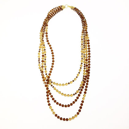 Amber Crystal Multi strand necklace N34