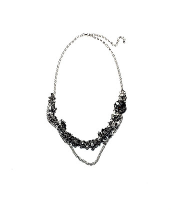 Multi layer bi cone and diamante disk necklace N16