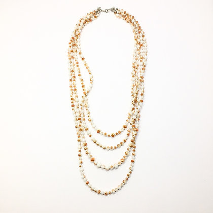 White/Amber crystal multi strand necklace N33
