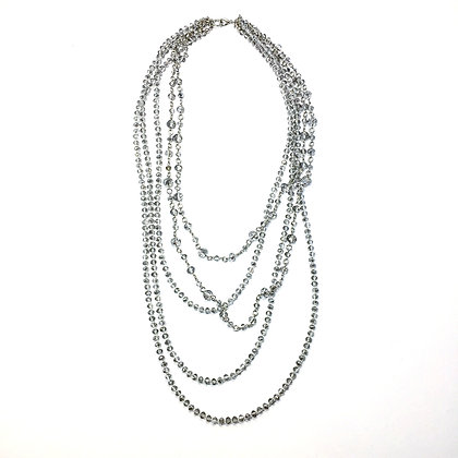 Silver Crystal Multi Necklace N30
