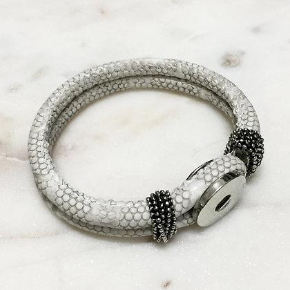 01 White Pop Button Bracelet