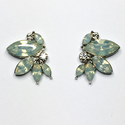Multi crystal frosted mint studs EC5