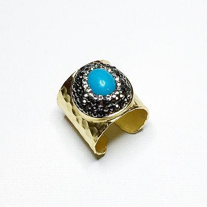 Matt Gold Rhinestone Turquoise