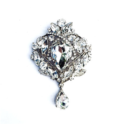Clear Crystal tear drop Brooch B1