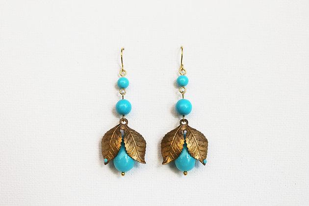 V1 Turquoise Brass Leaf E35
