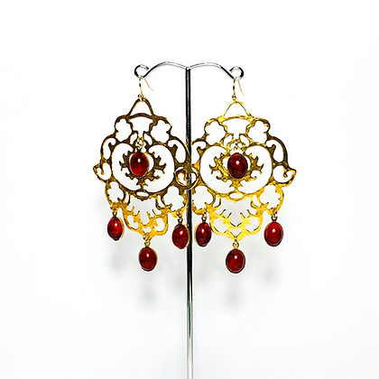 Brass Filigree with red drops E18