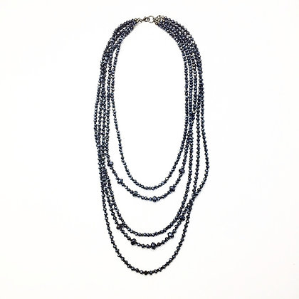 Gun Metal Crystal Multi Necklace N31