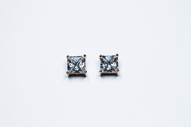 PRINCESS RG CUT CZ PLAIN STUDS