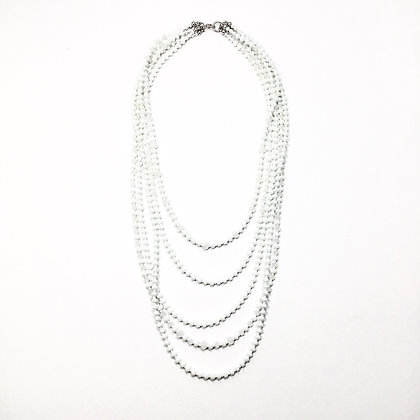 White crystal multi strand necklace N32