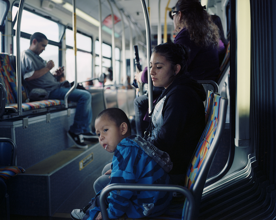 Woman and Boy on Bus