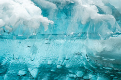 Split in Half Glacial Ice Abstract