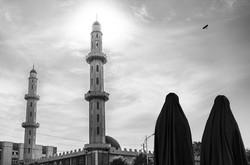 Portrait of women near their Mosque