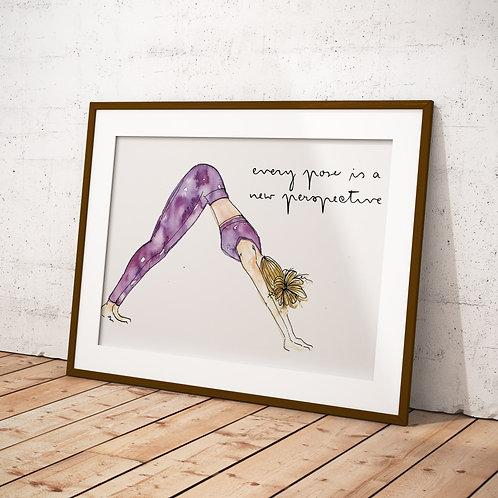 Yoga Girl Purple Watercolour Perspective Quote