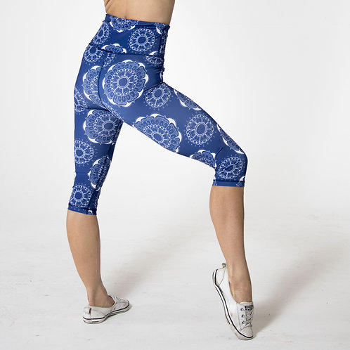 Capri High-waist Legging - Mandala Blue