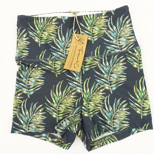 Bike Shorts High-Waist Legging - NEW Leaf Watercolour