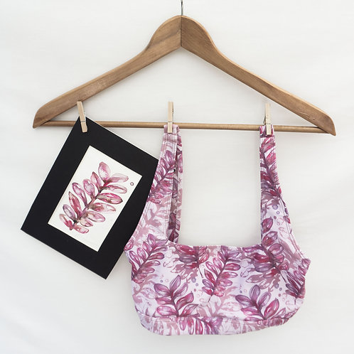 Crop Top / Sports Bra - Pink Leaf Watercolour