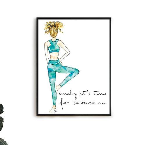 Yoga Girl Blue Watercolour Savasana Quote