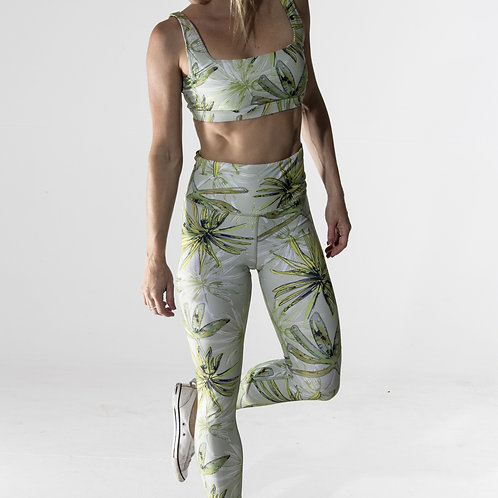 Long High-waist Legging - Green Leaf Watercolour