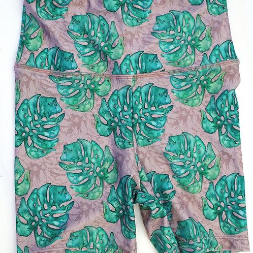 Mid Thigh Bike Shorts High-waist Legging  - Watercolour Leaf Dusty Pink