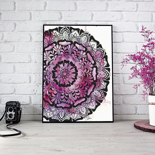 Mandala Watercolour Half Purple / Pink