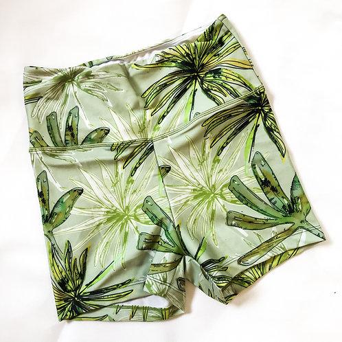 Bike Shorts High-waist Legging - Green Leaf Watercolour