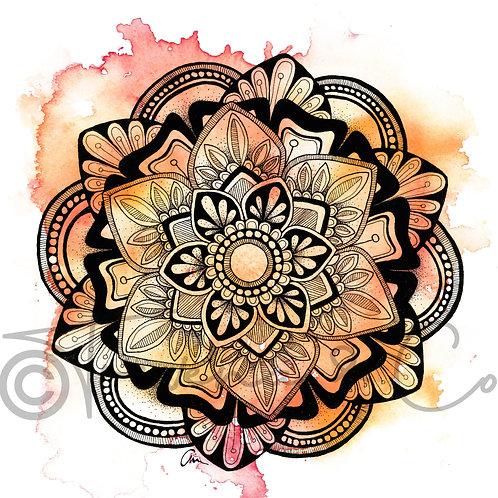 Mandala Watercolour Summer Colours Pink / Orange