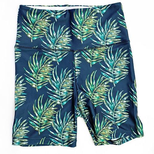 Mid Thigh Bike Shorts High-Waist Legging - NEW Leaf Watercolour