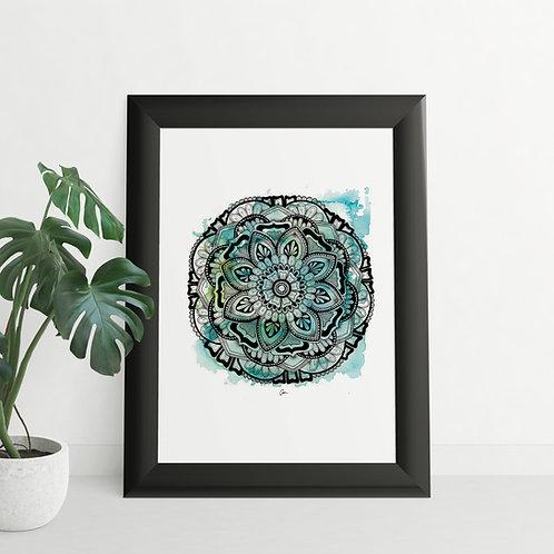 Mandala Watercolour Winters Colours Blue / Green