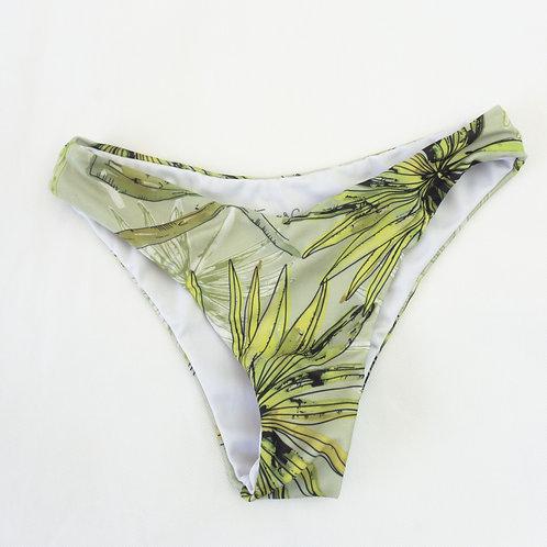 Bikini high-waist - Green Leaf Watercolour