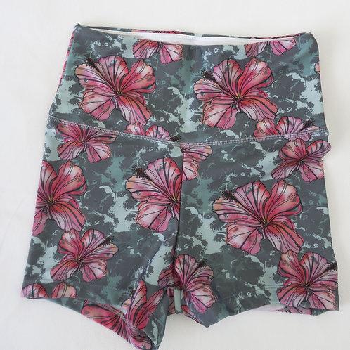 Bike Shorts High-waist - Hibiscus Flower Watercolour