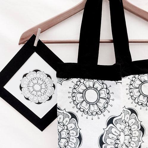 Linen Eco Bag Mandala Black and White