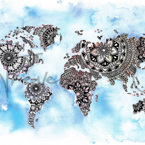 World Map Mandala Watercolour