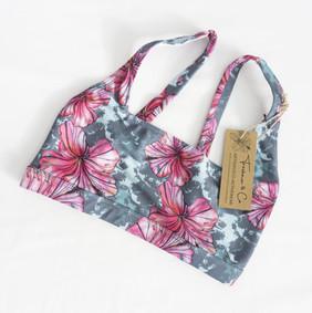 sport bra watercolour pattern, hibiscus