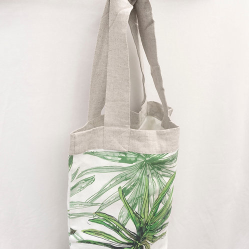 Linen Eco Bag Green Leaf Watercolour Pattern