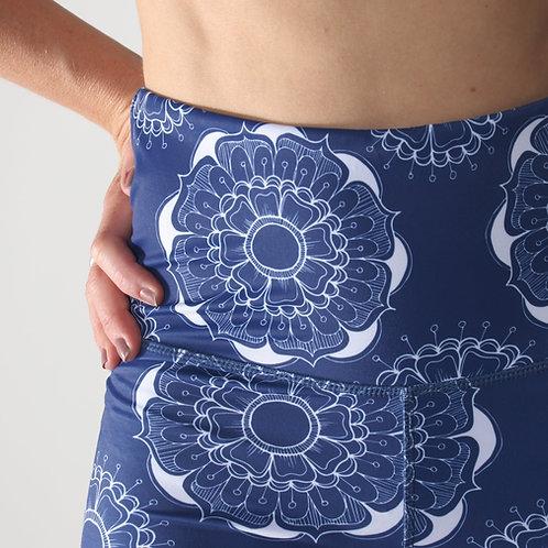 Bike Shorts High-waist Legging - Mandala Blue