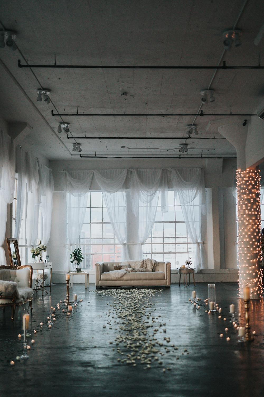 Alternative wedding venue within an industrial warehouse.
