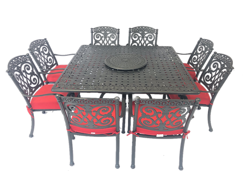Barcelona Dining 9 Piece set (with square table)