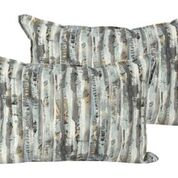 Throw Pillow - Grey/Turq Stripe